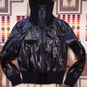 Club Monaco Genuine Leather Moto Bomber Jacket